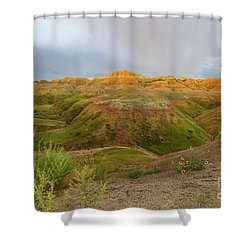 Yellow Mounds Morning Shower Curtain