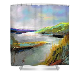 Shower Curtain featuring the painting Yellow Mountain by Frances Marino