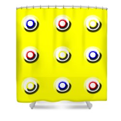 Yellow Nine Squared Shower Curtain