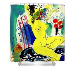 Yellow Nude With Fan Shower Curtain