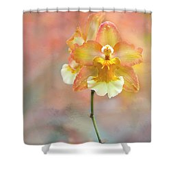 Yellow Orchid Shower Curtain by Ann Bridges