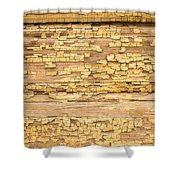 Shower Curtain featuring the photograph Yellow Painted Aged Wood by John Williams