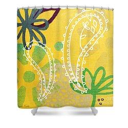 Yellow Paisley Garden Shower Curtain by Linda Woods