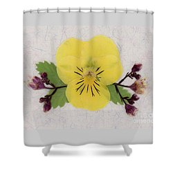 Yellow Pansy And Coral Bells Pressed Flowers Shower Curtain