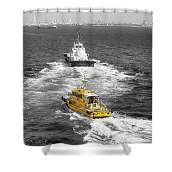 Yellow Pilot Yokohama Port Shower Curtain