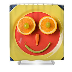 Yellow Plate With Food Face Shower Curtain