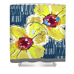 Yellow Poppies 2- Art By Linda Woods Shower Curtain by Linda Woods