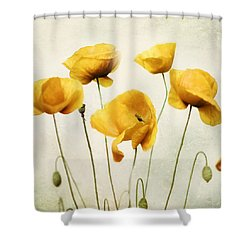Yellow Poppies - Square Version Shower Curtain