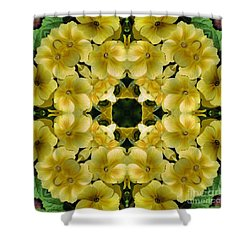 Yellow Primrose Kaleidoscope Shower Curtain by Smilin Eyes  Treasures