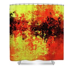 Shower Curtain featuring the painting Yellow, Red And Black by Ayse Deniz