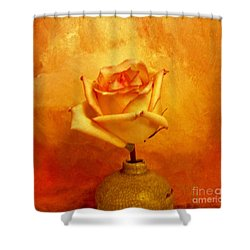 Yellow Red Orange Tipped Rose Shower Curtain by Marsha Heiken