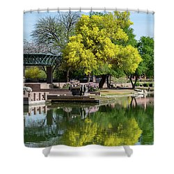 Yellow Reflection Shower Curtain