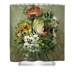 Yellow Rose And White Blossoms Shower Curtain by David Jansen