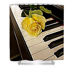 Yellow Rose On Piano Keys Shower Curtain