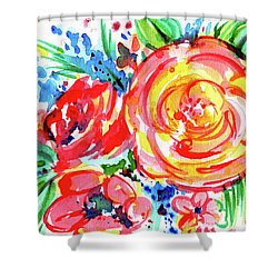 Yellow Rose Red Shower Curtain by Nada Meeks