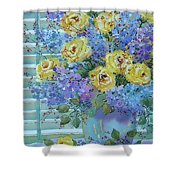 Yellow Roses And Lilacs Shower Curtain