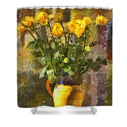 Yellow Roses Bouquet Shower Curtain