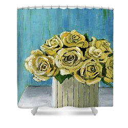Yellow Roses In Vase Shower Curtain