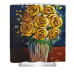 Shower Curtain featuring the painting Yellow Roses by Katherine Young-Beck