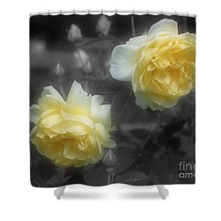 Yellow Roses Partial Color Shower Curtain by Smilin Eyes Treasures