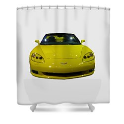 Yellow Sports Car Front Shower Curtain