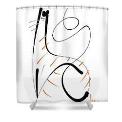 Shower Curtain featuring the painting Downton Tabby by Larry Talley