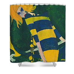 Shower Curtain featuring the painting Yellow Stripes by Maya Manolova