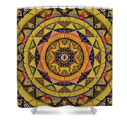 Shower Curtain featuring the painting Yellow Sun by Kym Nicolas