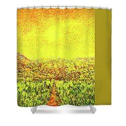 Shower Curtain featuring the digital art Yellow Sunlit Path - Marin California by Joel Bruce Wallach
