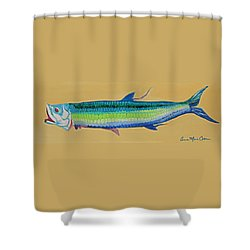 Yellow Tarpon Shower Curtain by Anne Marie Brown