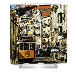 Yellow Tram In Downtown Lisbon, Portugal Shower Curtain