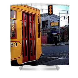 Yellow Trolley At Earnestine And Hazels Shower Curtain