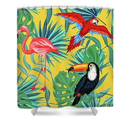 Yellow Tropic  Shower Curtain by Mark Ashkenazi