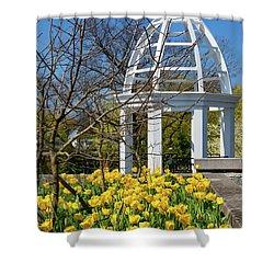Yellow Tulips And Gazebo Shower Curtain