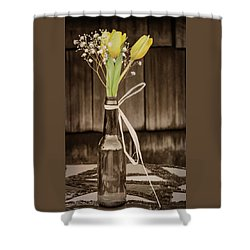 Yellow Tulips In Glass Bottle Sepia Shower Curtain by Terry DeLuco