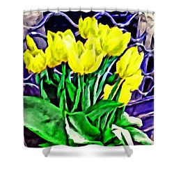 Shower Curtain featuring the painting Yellow Tulips by Joan Reese
