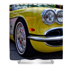 Yellow Vette Shower Curtain