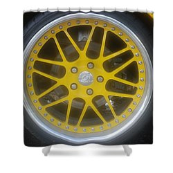 Yellow Vette Wheel Shower Curtain by Rob Hans