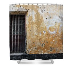 Yellow Wall, Gated Door Shower Curtain by Jennifer Mazzucco
