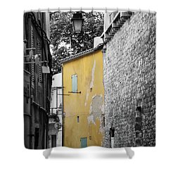 Shower Curtain featuring the photograph Yellow Wall by Rasma Bertz