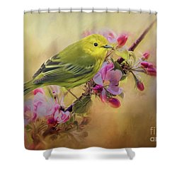Yellow Warbler In The Flowers Shower Curtain