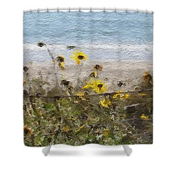 Yellow Wildflowers- Art By Linda Woods Shower Curtain