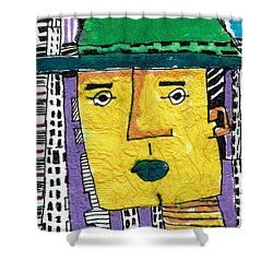 Shower Curtain featuring the tapestry - textile Yellowman by Don Koester
