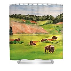 Shower Curtain featuring the painting Yellowstone by Ellen Canfield