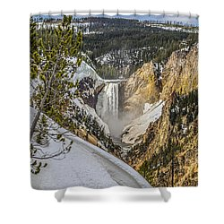 Yellowstone Falls In Winter Snow Shower Curtain by Yeates Photography
