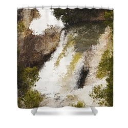 Yellowstone Falls Shower Curtain by Jo-Anne Gazo-McKim