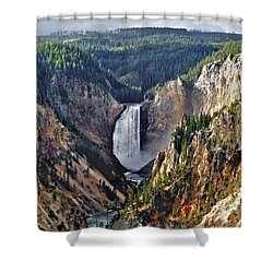 Shower Curtain featuring the digital art Yellowstone Falls Seen From Artist Point by Kai Saarto