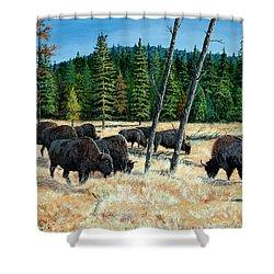 Yellowstone Grazers Shower Curtain