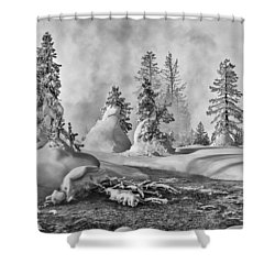 Shower Curtain featuring the photograph Yellowstone In Winter by Gary Lengyel