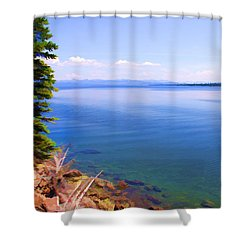 Yellowstone Lake In Watercolor Shower Curtain by Susan Crossman Buscho